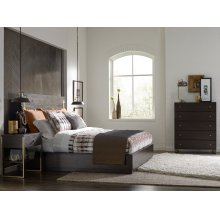 Panel Bed w/ Brass Finish Wood Accents