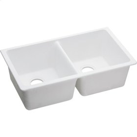 "Elkay Quartz Classic 33"" x 18-1/2"" x 9-1/2"", Equal Double Bowl Undermount Sink, White"