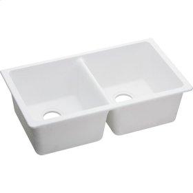 "Elkay Quartz Classic 33"" x 18-1/2"" x 9-1/2"", Equal Double Bowl Undermount Sink, White"