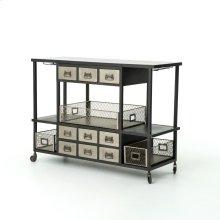 Industrial Bar Cart-black/antique Nickel