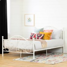 Metal Platform Bed with Headboard and Metal Slats - White