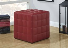 OTTOMAN - RED LEATHER-LOOK FABRIC