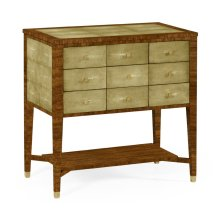 Ivory Faux Shagreen 9-Drawer Chest