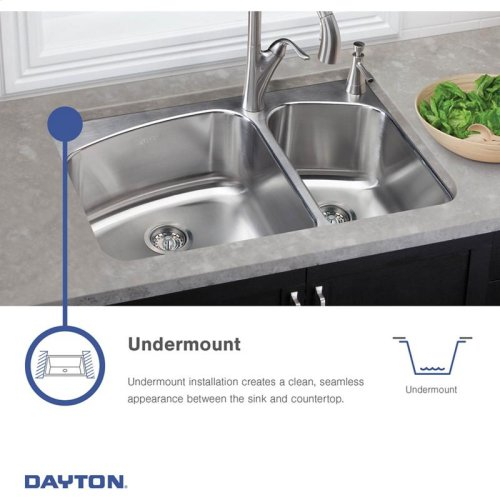 """Dayton Stainless Steel 31-3/4"""" x 20-1/2"""" x 10"""", Offset Double Bowl Undermount Sink and Faucet Kit"""
