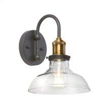 1lt Wall Sconce, Black/antique Brass