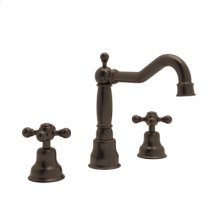 Tuscan Brass Arcana 3-Hole Widespread Faucet with Arcana Classic Metal Lever