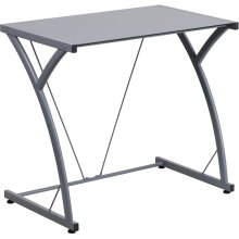 Contemporary Tempered Silver Glass Computer Desk with Matching Frame