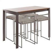 Fuji 5-piece Counter Set - Antique Metal, Walnut Wood, Stone Cowboy Fabric