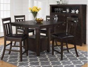 Kona Grove Counter Height Table With Six Slat Back Stools