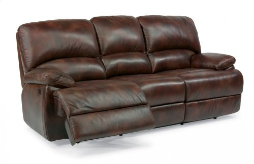 Dylan Leather Three-Cushion Power Reclining Sofa with Chaise Footrests