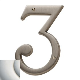 Polished Nickel with Lifetime Finish House Number - 3