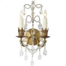 Visual Comfort SK2008HAB Suzanne Kasler Hannah 2 Light 8 inch Hand-Rubbed Antique Brass Decorative Wall Light