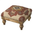 Red Medallion Woven Kilim Stool. Product Image