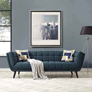 Bestow Upholstered Fabric Sofa in Blue