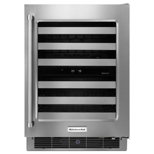 "24"" Stainless Steel Wine Cellar with Metal-Front Racks"