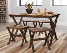 STANDARD 11081-2011081-11084 Reynolds Metal Leg-Wooden Top Table With 4 Stools