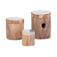 Abaco Teak and Aluminum Lidded Boxes - Set of 3