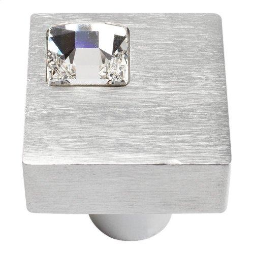 Crystal Off Center Square Knob 1 Inch - Matte Chrome