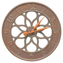 """Medallion 18"""" Indoor Outdoor Wall Clock - Copper Vedigris"""