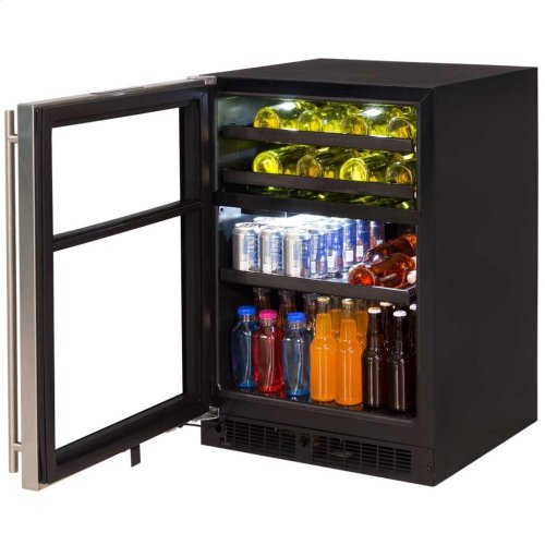"""24"""" Dual Zone Wine and Beverage Center - Panel-Ready Framed Glass Overlay Door - Integrated Right Hinge"""