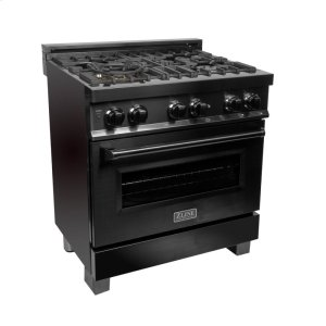"Zline KitchenZLINE 30"" Black Stainless 4.0 cu.ft. 4 Gas Burner/Electric Oven Range (RAB-30)"