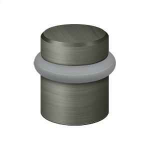 """Round Universal Floor Bumper 1-1/2"""", Solid Brass - Antique Nickel"""