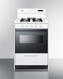 """Deluxe Gas Range In Slim 24"""" Width With Electronic Ignition, Digital Clock/timer, Black Glass Oven Door, and White Porcelain Top; Replaces Wtm6307dk"""