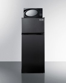 """24"""" Wide Frost-free Refrigerator-freezer-microwave Combination Unit In Black Finish"""