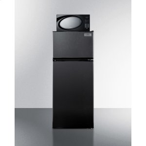 """Summit24"""" Wide Frost-free Refrigerator-freezer-microwave Combination Unit In Black Finish"""