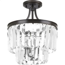 "Glimmer Collection Three-Light 15-1/2"" Semi-Flush Convertible"