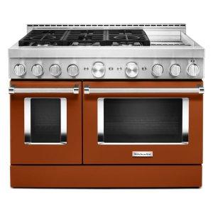 KitchenAidKitchenAid® 48'' Smart Commercial-Style Gas Range with Griddle - Scorched Orange