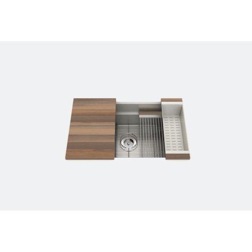 "SmartStation 005452 - undermount stainless steel Kitchen sink , 30"" × 18 1/8"" × 10"" (Walnut)"