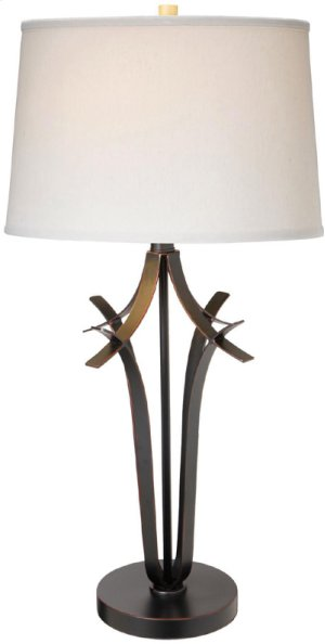Table Lamp, Ant. Brz/off-wht Fabric Shade, E27 Cfl 23w