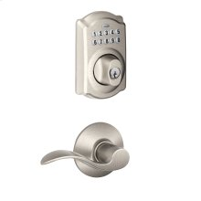 Camelot Trim Keypad Deadbolt paired with Accent Lever Hall & Closet Lock - Satin Nickel