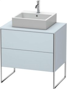 Vanity Unit For Console Floorstanding, Light Blue Satin Matt Lacquer