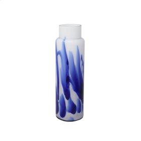 "Glass Vase 15.75"", White / Blue"