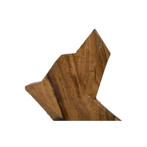 Howling Dog Sculpture, Chamcha Wood, Natural
