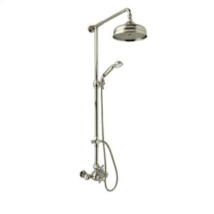 Satin Nickel Exposed Wall Mount Thermostatic Shower With Volume Control with Arcana Ornate Metal Lever