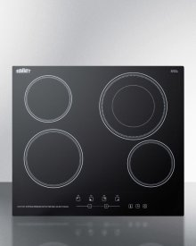 """230v 4-burner Cooktop In Black Ceramic Schott Glass With Digital Touch Controls and an Extra Large 8"""" Dual Cooking Element"""