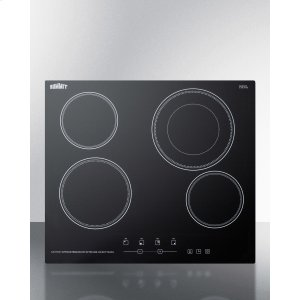"Summit230v 4-burner Cooktop In Black Ceramic Schott Glass With Digital Touch Controls and an Extra Large 8"" Dual Cooking Element"