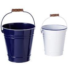 Blue & White Enamel Bucket with Wood Handle. (2 pc. set)