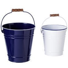 Blue & White Enamel Bucket with Wood Handle (2 pc. set)