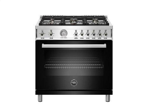 36 inch 6-Burner, Gas Oven Black