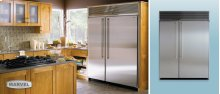 "60"" Refrigerator Freezer - 60"" Marvel Side-by-Side Combination Refrigerator Freezer - 30"" Left-Hinge Freezer with White Interior with Stainless Steel Door / 30"" Right-Hinge Refrigerator with White Interior and Stainless Steel Door"