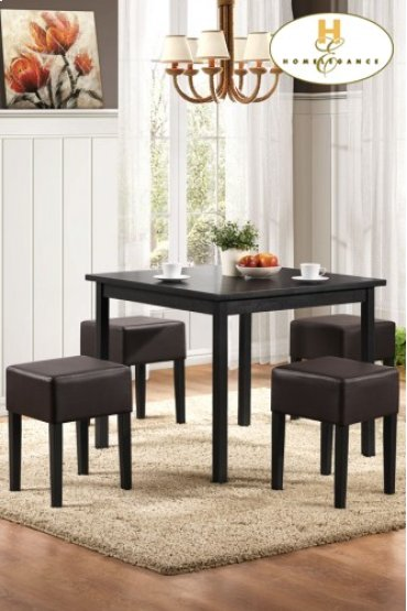 5-Piece Pack Dinette Set Table: 35.5 x 35.55 x 29.5H Stool: 14 x 14 x 19H