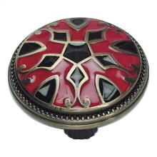 Canterbury Knob 1 1/2 Inch - Black & Red