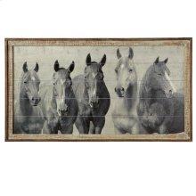 Framed Slat Horses Wall Decor.