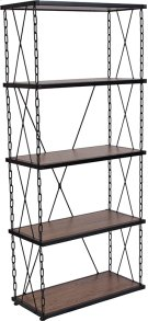 "Vernon Hills Collection 4 Shelf 57""H Chain Accent Metal Frame Bookcase in Antique Wood Grain Finish Product Image"