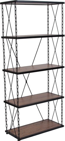 Vernon Hills Collection Antique Wood Grain Finish Four Shelf Bookshelf with Chain Accent Metal Frame