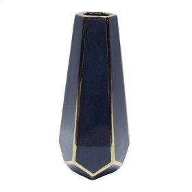 """Blue/gold Faceted Vase 14"""""""